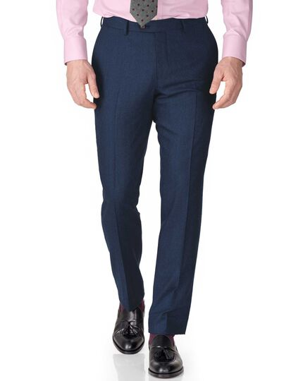 Blue slim fit saxony business suit trousers