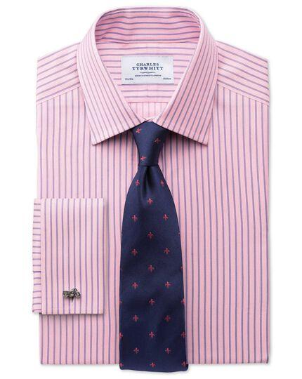 Slim fit Egyptian cotton textured stripe pink shirt