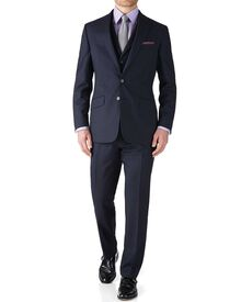 Dark blue stripe slim fit flannel business suit