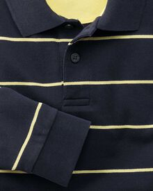 Classic fit navy and yellow striped pique long sleeve polo