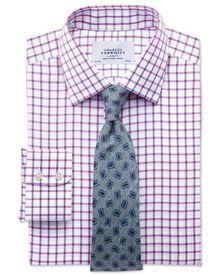 Classic fit non-iron twill grid check purple shirt