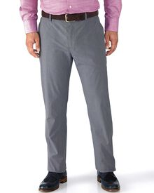 Blue slim fit Prince of Wales check stretch trousers