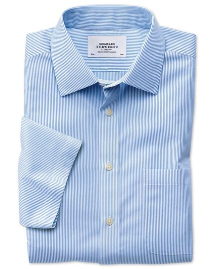 Classic fit non-iron short sleeve bengal stripe sky blue shirt
