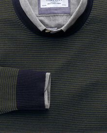 Dark green and navy stripe merino wool crew neck sweater