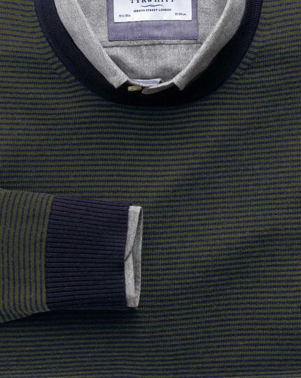 Dark green and navy stripe merino wool crew neck jumper