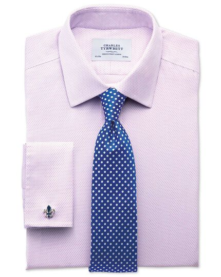 Extra slim fit non iron imperial weave lilac shirt