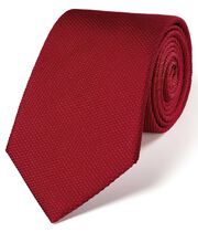 Dark red silk plain classic tie