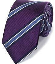 Purple and sky silk textured stripe classic tie