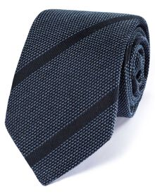 Navy silk mix Italian luxury stripe grenadine tie