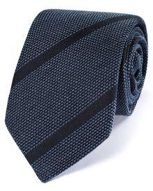 Luxuriöse italienische Grenadine-Krawatte aus Seidenmix in marineblau mit Streifen