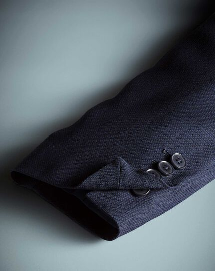 Navy slim fit birdseye travel suit jacket