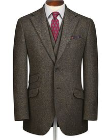 Green slim fit Donegal tweed jacket