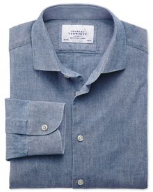Slim Fit Business-Casual Chambray-Hemd mit Semi-Haifischkragen in mittelblau