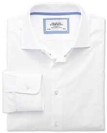 Slim fit semi-spread collar business casual white shirt