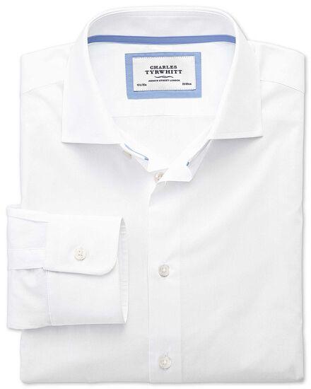 Slim fit semi-cutaway collar business casual white shirt