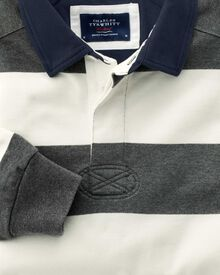 Classic fit grey and white striped rugby shirt