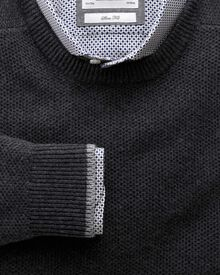 Charcoal merino cotton crew neck jumper