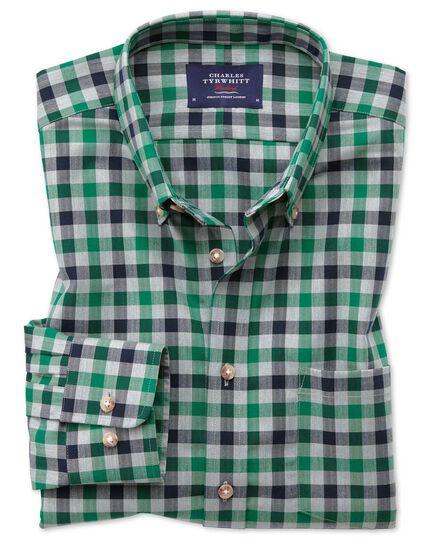 Bügelfreies Classic Fit Twill-Hemd in Grün und Marineblau mit Gingham-Karos