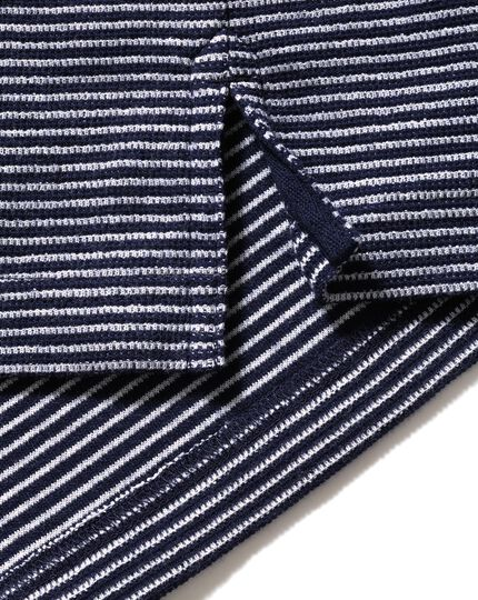 Classic fit blue and white striped long sleeve knitted polo