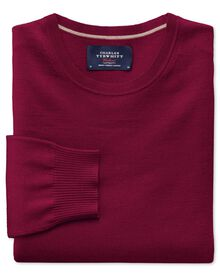 Dark red merino wool crew neck sweater