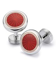 Red enamel starburst cuff links