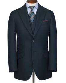 Dark green slim fit British hopsack luxury suit jacket
