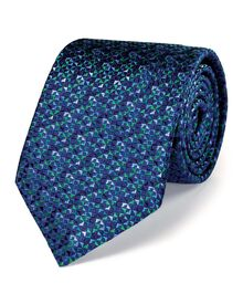 Blue silk luxury micro triangle geometric tie