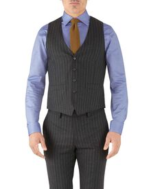 Charcoal stripe adjustable fit flannel business suit waistcoat