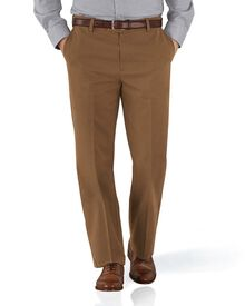 Camel classic fit flat front non-iron chinos