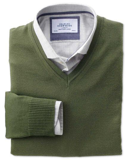 Olive merino wool v-neck jumper