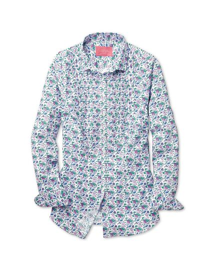 Women's semi-fitted multi floral print bib front shirt