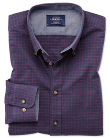 Classic fit button-down soft cotton navy blue and berry check shirt