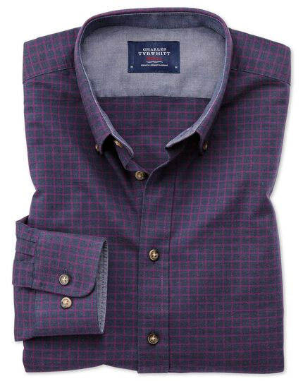 Slim fit button-down soft cotton navy blue and berry check shirt