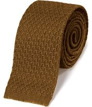Dark yellow wool slim knitted classic tie