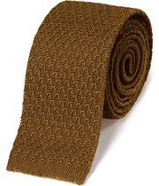 Dark yellow wool slim knitted classic tie