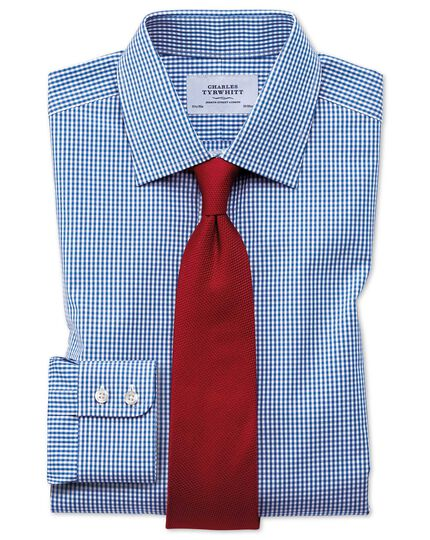 Extra slim fit small gingham navy shirt