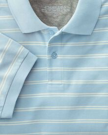 Classic fit sky and white dual striped pique polo