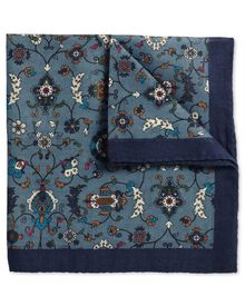 Blue wool floral Italian luxury pocket square