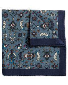 Luxuriöses italienisches Einstecktuch aus Wolle in blau mit Blumenmuster