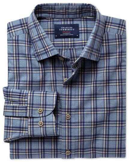 Slim Fit Hemd in blau und marineblau meliert mit Karos