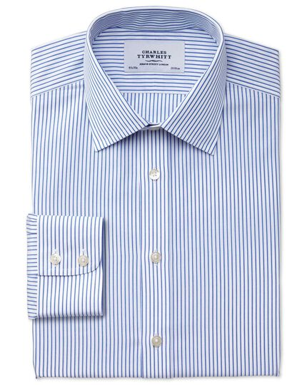 Extra slim fit non-iron stripe white and blue shirt