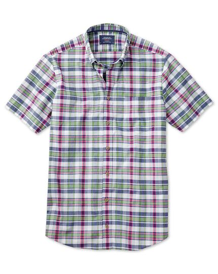 Slim fit poplin short sleeve pink and green check shirt