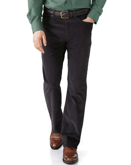Charcoal classic fit stretch 5 pocket needle cord pants