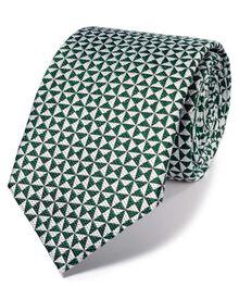 Green silk luxury English end-on-end tie