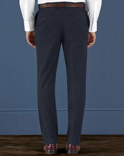 Indigo slim fit cotton flannel herringbone pants