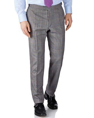 Grey check slim fit British Panama luxury suit trousers