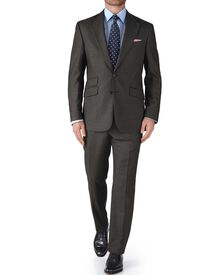 Grey slim fit basketweave business suit