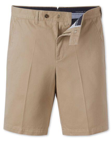 Stone flat front chino shorts
