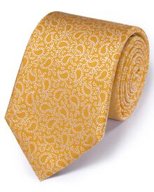 Gold silk classic paisley tie