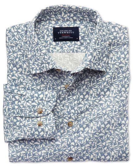 Slim fit sky blue leaf print shirt